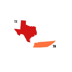 Texas and Tennessee